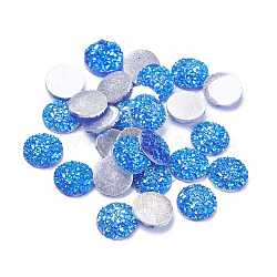 Cabochons en résine, imitation druzy agate, plat rond, de couleur plaquée ab , bleu royal, 12x3mm(X-CRES-Q191-HA027-6)