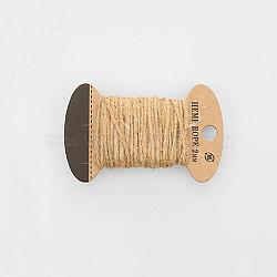 Corde de chanvre, chaîne de chanvre, ficelle de chanvre, 3 plis, pour la fabrication de bijoux, tan, 2mm; 10m / board(OCOR-WH0016-06B)