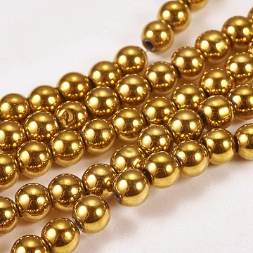 Electroplate Non-magnetic Synthetic Hematite Beads Strands, Round, Grade A, Golden Plated, 6mm, Hole: 1.2mm; about 65pcs/strand, 16inches(X-G-J169A-6mm-04)