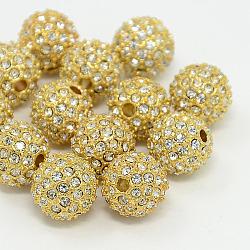 Perles de strass en alliage, Grade a, rond, métal couleur or, cristal, 12mm(RB-A034-12mm-A01G)