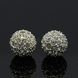 Alloy Rhinestone Beads, Grade A, Round, Silver Color Plated, Crystal, 12mm, Hole: 2mm(RB-A034-12mm-A01S)
