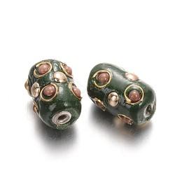 Colonne fait main perles Indonésie, avec platine plaqué noyaux en alliage, darkgreen, 17x11mm, Trou: 2mm(IPDL-L001-21)
