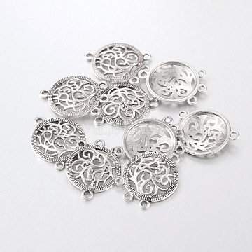 Alloy Chandelier Component Links, Cadmium Free & Nickel Free & Lead Free, Flat Round, Antique Silver, 26.5x20x3mm, Hole: 1.5mm(X-EA8072Y)