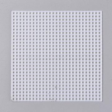 Cross Stitch Mesh Board, Plastic Canvas Sheets, Square, White, 117x117x1.5mm(X-DIY-WH0162-82)