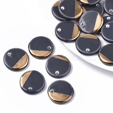 Two Tone Handmade Porcelain Pendants, Ornamental with Gold, Flat Round, DarkGray, 21.5x4mm, Hole: 1.6mm(PORC-S501-005)