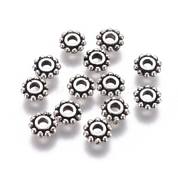 Thai Sterling Silver Bead Spacers, Flower, Antique Silver, 5x1.5mm, Hole: 1.6mm, 29pcs/5g(STER-G029-02AS)