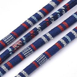 Cordes en tissu de style ethnique, avec cordon en coton à l'intérieur, midnightblue, 6.5~7x5 mm; environ 100 m / bundle(OCOR-S034-23)