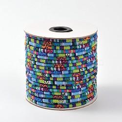 Cordes ethniques en tissu, cornflowerblue, 6 mm; environ 50 mètres / rouleau (150 pieds / rouleau)(OCOR-F003-6mm-01)