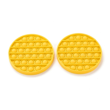 Silicone Push Pop Bubble Fidget Sensory Toy, Bubble Popper Fidget Toy, Stress Anxiety Relief Toys, Flat Round, Yellow, 127x15mm(DIY-J004-A02)