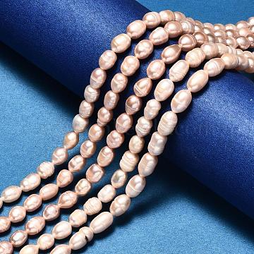 Oval Natural Cultured Freshwater Pearl Beads Strands, Navajo White, 8~12x7~8mm, Hole: 0.8mm; about 38~40pcs/strand, 13.7 inches(X-PEAR-R015-44)