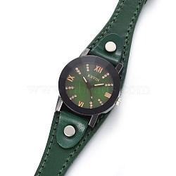 наручные часы высокого качества, кварцевые часы, Головка из сплава и ремешок из искусственной кожи, темно-зеленый, 9 (22.9 см); 14x3 мм; головка часов: 32x34x13 мм(WACH-I017-14C)