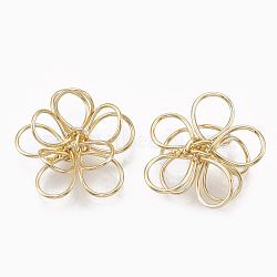 Brass Wire Beads, Real 18K Gold Plated, Flower, 14.5x15.5x6mm(KK-S348-095)