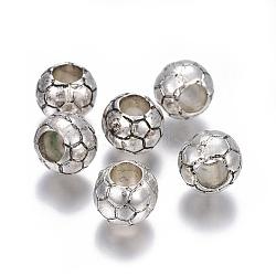 Perles européennes en plastique CCB, rondelle, argent antique, 10x8.5mm, Trou: 5mm(CCB-F017-03AS)