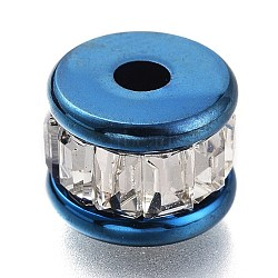 304 Stainless Steel Beads, with Crystal Rhinestone, Column, Blue, 8x6mm, Hole: 2mm(STAS-O129-01BL)