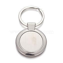 paramètres de cabochon de porte-clés en alliage de zinc, avec anneau en fer, plat rond, platine, 71 mm; pendentif: 44.5x37x4.5 mm; plateau: 27.5 mm; 1 pc / box(KEYC-L020-01P)