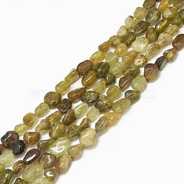 4mm LightKhaki Nuggets Garnet Beads