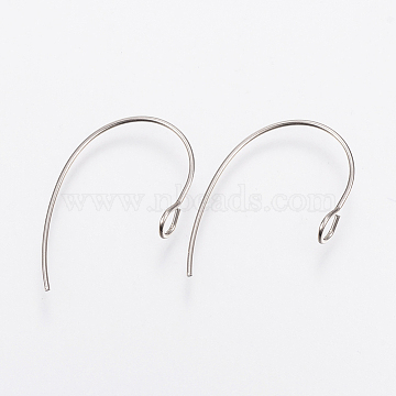 304 Stainless Steel Earring Hooks, Ear Wire, Stainless Steel Color, 25x14x4mm, Hole: 3mm; Pin: 0.7mm(X-STAS-F148-05P)