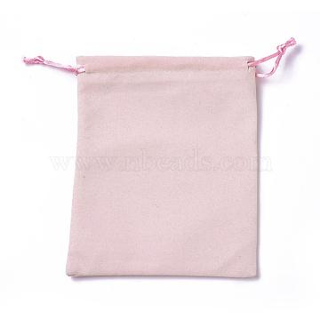 Velvet Packing Pouches, Drawstring Bags, Pink, 15~15.2x12~12.2cm(TP-I002-12x15-01)