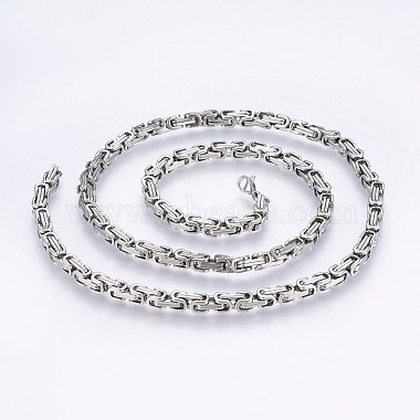 304 Stainless Steel Byzantine Chain Necklaces(NJEW-F222-13P)-1