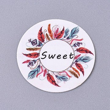 Paper Hanging Tags, for Wedding Favors, Birthday or Special Event, Flat Round, Flower Pattern, Colorful, 30x0.2mm, Hole: 3mm(CDIS-E009-01A-02)