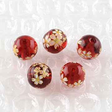 Rose Flower Pattern Printed Round Glass Beads, Bisque, 10x9mm, Hole: 1.5mm(GFB-R004-10mm-R06)