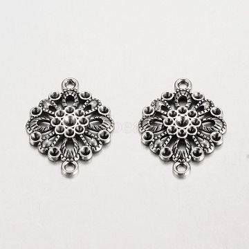 Filigree Flat Round Tibetan Style Alloy Connector Rhinestone Settings, Cadmium Free & Lead Free, Antique Silver, 30x23x3mm, Hole: 2mm, Fit for 2~3mm rhinestone(X-PALLOY-K113-02AS-RS)