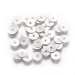 316 Surgical Stainless Steel Beads, Heishi Beads, Flat Round/Disc, Stainless Steel Color, 5x0.2mm, Hole: 0.8mm(X-STAS-I118-12P-02)