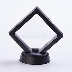 Plastic Frame Stands, with Transparent Membrane, 3D Floating Frame Display Holder, Coin Display Box, Rhombus, Black, 69x69x54mm(ODIS-P005-01-70x70mm-B)