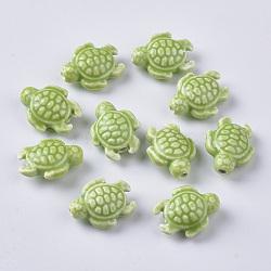 perles de porcelaine à la main, style de porcelaine émaillée lumineux, tortue, vert jaune, 19x15x8.5 mm, trou: 2 mm