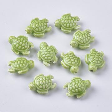 Handmade Porcelain Beads, Bright Glazed Porcelain Style, Tortoise, Yellow Green, 19x15x8.5mm, Hole: 2mm(X-PORC-T005-001B)