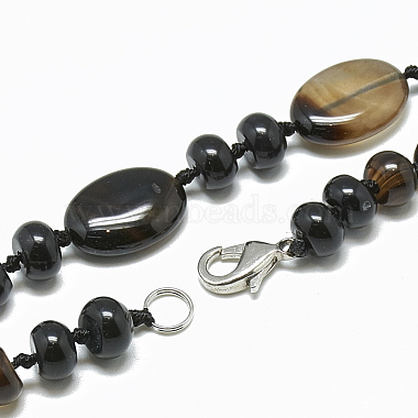 Natural Black Agate Beaded Necklaces(NJEW-S394-02)-2