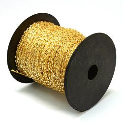 Silver Lined Transparent Bugle Bead Cords, with Polyester Cords, with Random Color Spools and Nylon Cords, Round Hole, Goldenrod, 1.5~3x1.5~2mm; about 100yards/roll(300 feet/roll)(OCOR-R041-B01)