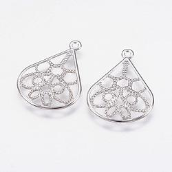 304 Stainless Steel Pendants, Heart, Filigree, Stainless Steel Color, 20x15x1mm, Hole: 1mm