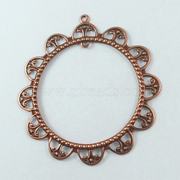 Iron Links, Filigree Joiners, Flower, Red Copper, 65x62x2mm, inner diameter: 43mm, Hole: 2mm(X-IFIN-R0139-R)