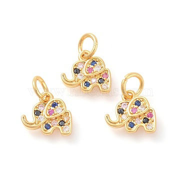 Brass Micro Pave Cubic Zirconia Charms, Elephant, Colorful, Golden, 10x11x2mm, Hole: 4mm(X-ZIRC-F106-08G)