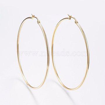 304 Stainless Steel Big Hoop Earrings, Hypoallergenic Earrings, Golden, 12 Gauge, 64~66x2mm, Pin: 0.7x1mm(X-EJEW-F105-02G)