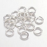 90pcs Silver Color Plated Brass Jump Rings, Cadmium Free & Lead Free, Open Jump Rings, 18 Gauge, 6x1mm, Inner Diameter: 4mm, about 90pcs/10g