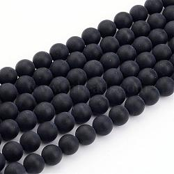 Natural Black Agate Bead Strands, Frosted, Round, 8mm, Hole: 1mm; about 49pcs/strand, 15.7inches