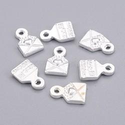 Pendentif en alliage , sans plomb et sans cadmium, breloque de messagerie amour, argenterie, 10x6.5mm, Trou: 1.5mm(X-TIBEP-LF0643YKG-S-LF)