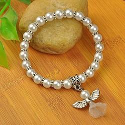 Bracelets d'ange belle avec robe de mariée pour les enfants, bracelets carnaval extensibles, avec verre perles de nacre et de perles de style tibétain, blanc, 45mm(BJEW-JB00727-19)