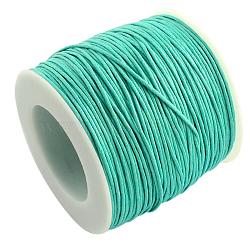 Waxed Cotton Thread Cords, Aquamarine, 1mm; about 100yards/roll(300 feet/roll)