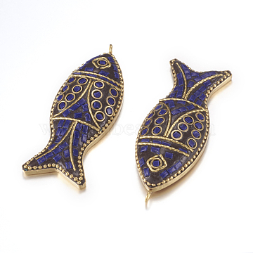 65mm Blue Fish Polymer Clay Pendants