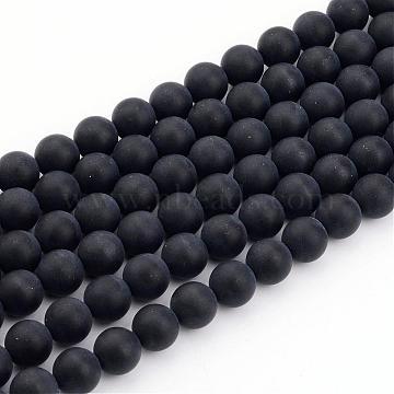 8mm Black Round Black Agate Beads
