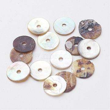 Flat Round Natural Akoya Shell Beads, Mother of Pearl Shell Beads, Camel, 7.5~8x1mm, Hole: 1mm; about 1440pcs/bag(SHEL-N034-06)