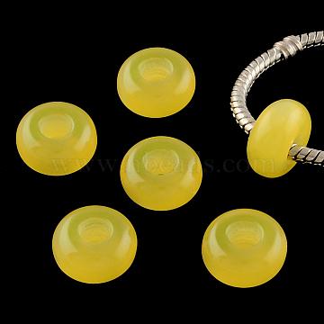 Imitation Cat Eye Resin European Beads, Large Hole Rondelle Beads, Yellow, 13~14x7~7.5mm, Hole: 5mm(RPDL-S001-10)