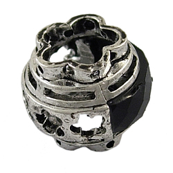 Perles en laiton, avec de la résine, Perles avec un grand trou   , fleur, argent antique, 17 mm de diamètre, épaisseur de 14mm, Trou: 8x9mm(X-EC2481Y)