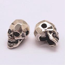 Perles de zircone cubique de grade AAA de micro pave, Plaqué longue durée, Sans cadmium & sans nickel & sans plomb, crane, 925 argent sterling thaï plaqué, 13x7.5x9mm, Trou: 2mm(ZIRC-G093-36AS-NR)