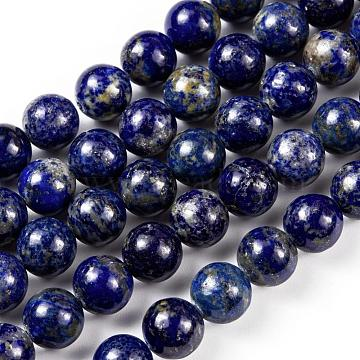Natural Lapis Lazuli Round Beads Strands, 10mm, Hole: 1mm; about 38pcs/strand, 15.5 inches(X-G-I181-09-10mm)