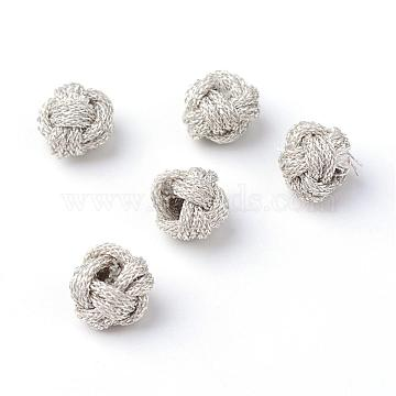 Handmade Braided Metallic Thread Beads, Flower, Silver, 6~7x4.5~6mm, Hole: 1~2mm(OCOR-S105-01)