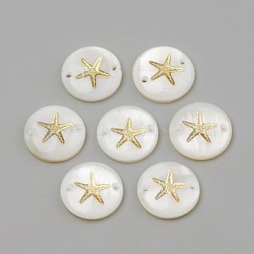 Freshwater Shell Links connectors, Flat Round & Starfish/Sea Stars, Golden, 16x4mm, Hole: 1.5mm (X-SHEL-Q009-001G)